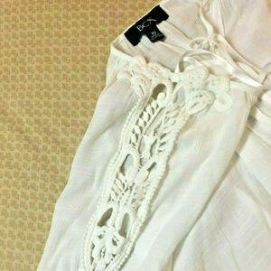 BCX Sheer Cut Out Sleeve Peasant BOHO XS WHITE